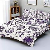 Juego de funda nórdica, minimalista, espacial, gráfico, satélite, órbita, radar, Saturno, telescopio, espacio decorativo, juego de cama de 3 piezas con 2 fundas de almohada, blanco púrpura, el mejor r
