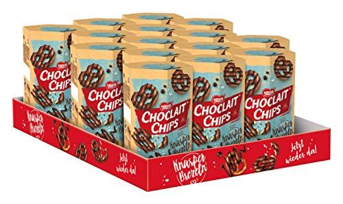 Nestlé Choclait Chips Knusperbrezel Milchschokolade, Salzbrezel Vollmilchschokolade, 15er Pack (15x140g)
