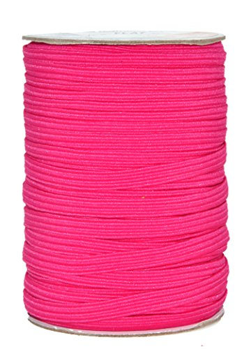 Mandala Crafts Flat Elastic Band, Braided Stretch Strap Cord Roll for Sewing and Crafting; 1/4 inch 6mm 50 Yards Hot Pink