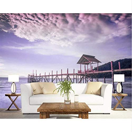 Aangepast behang houten boomstammen zee zonsondergang landschap tv achtergrond muur huisdecoratie woonkamer slaapkamer 3D-behang (W)300x(H)210cm (W)300x(h)210cm