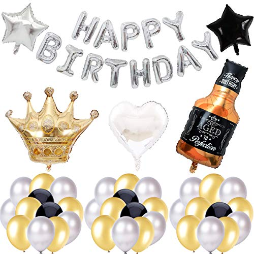 Decoraciones de Fiesta de Cumpleaños,LLMZ 41 Piezas Fiesta Cumpleaños Adulto Botella de Cerveza, Corona,Estrellas Globos de Papel de Aluminio para Fiestas, Mardi Gras, Cumpleaños, Bodas, Halloween