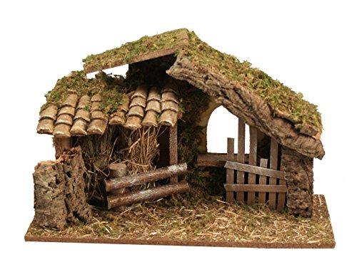 BERTONI Leere Holzhütte mit Zaun, Holz, Mehrfarbig, Einheitsgröße