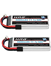 HRB 2PCS 11.1V 5000mAh 3S 50C-100C LiPo Battery with Traxxas TRX Plug for RC DJI F450 Quadcopter RC Helicopter Airplane Hobby Drone and FPV