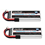 HRB 2PCS 11.1V 5000mAh 3S 50C-100C LiPo Battery TR Compatible with Traxxas Slash vxl Slash 4x4 vxl E-maxx Brushless Axial e-revo Brushless and Spartan RC Cars Models