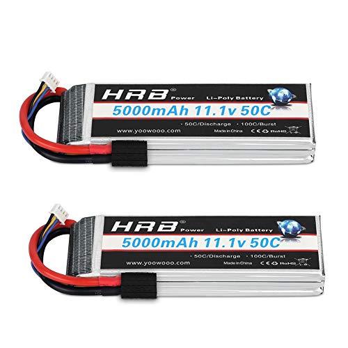 HRB 2PCS 11.1V 5000mAh 3S 50C-100C LiPo Battery TR Compatible with Traxxas Slash vxl Slash 4x4 vxl E-maxx Brushless Axial e-revo Brushless and Spartan RC Cars Models