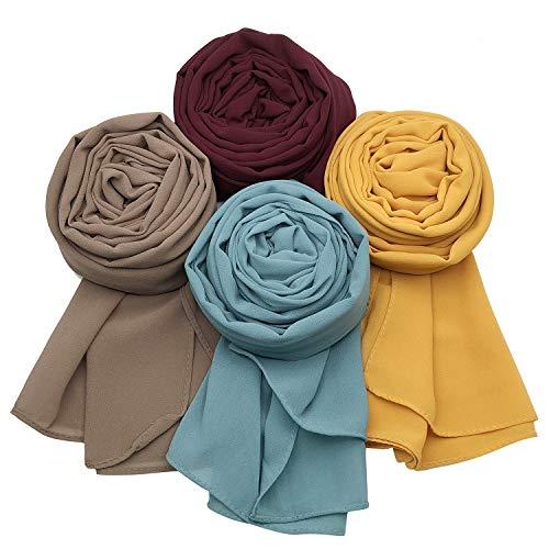 MANSHU 4 PCS Women Soft Chiffon Scarves Shawl Long Scarf Wrap Scarves A Series