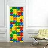 alwayspon Modern Art 3D Door Mural Sticker, Peel and Stick Removable Vinyl Door Decals for Home Decor, 30.3x78.7(77x200cm), 2 Pcs Set (Lego)