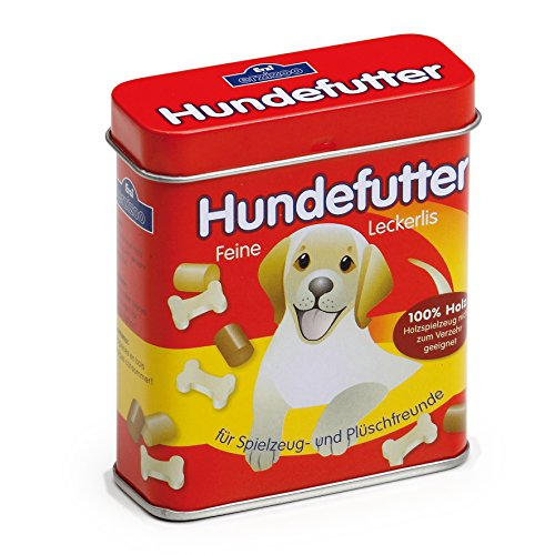 Erzi 18460 Hundefutter aus Holz in der Dose, Kaufladenartikel für Kinder, Rollenspiele