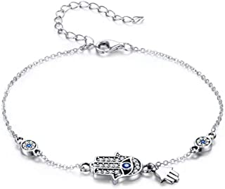SLUYNZ 925 Sterling Silver Fatima Hamsa Hand Evil Eye Bracelet for Women Teen Girls Blue Round Eyes Bracelet