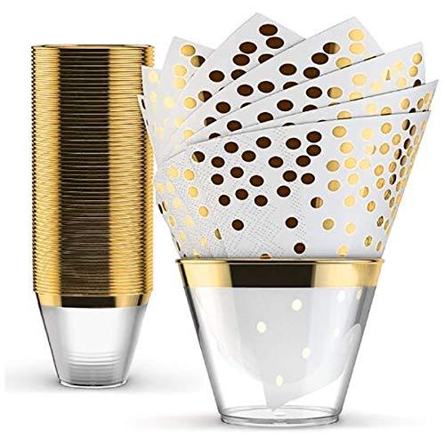 BoBoHome 50Pcs Vasos De Plástico Desechables 9Oz con 50Pcs Servilletas Desechables para Cumpleaños Boda Juego De Vajilla - Oro