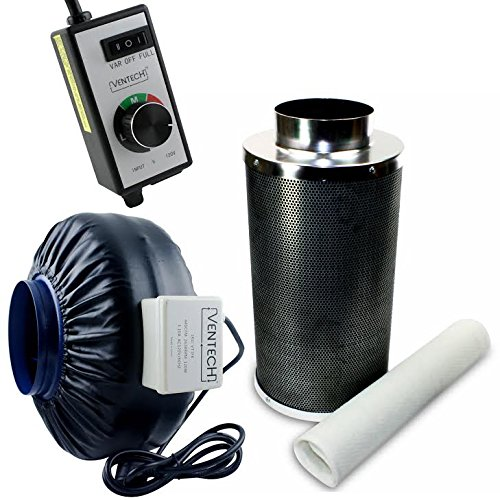 """VenTech 440 CFM 6"""" inch Inline Exhaust Blower Fan with Carbon Filter and Variable Speed Controller"""