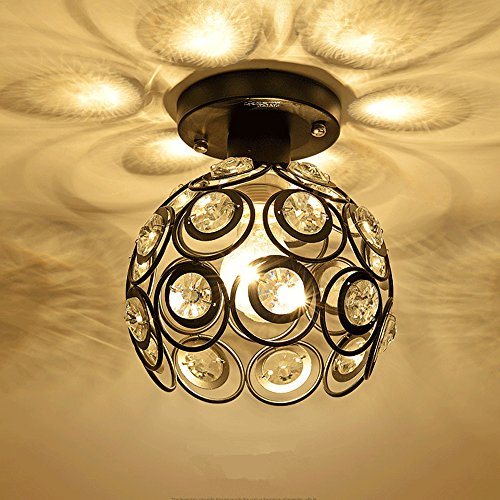 Minimaliste nordique Fleur Bourgeon Plafonnier Lampe de plafond cristal à facettes multi romantique arc Fer Corridor lampe de plafond φ20 cm E27 (non incluses) Noir