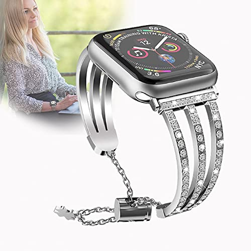 para Apple Watch Correa Iwatch Wristband Mujeres Niñas Acero Inoxidable Diamante De Imitación Glitter Sport Muñequera Pulsera Correa De Repuesto para Iwatch Series 4/3/2/1,38mm/40mm