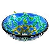 Slivy Ronda jarrón Azul Encima del Contador Fregadero de la vanidad de Vidrio Templado Floral Mural Acabado Baño Lavabo Cuenco artístico Wash Combo Lavabo con Grifo de la Cascada, 16.73' (Type : B)