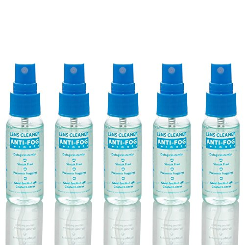 Anti Fog Spray Eyeglass Lens Cleaner, Long Lasting Defogger for Glasses, Goggles, Ski Masks Mirrors and Windows (5 Pack)