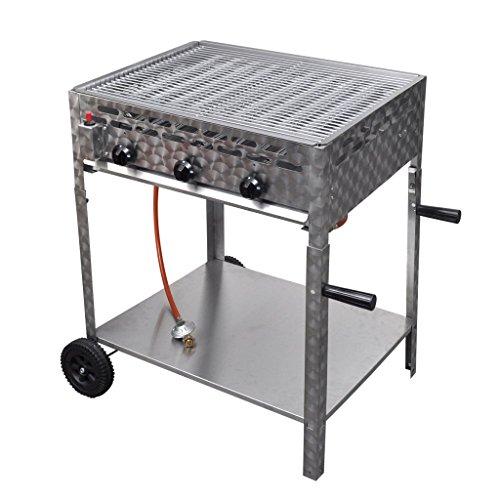 Festnight 3 Flammen Gasgrill BBQ Bräter Edelstahl Camping Gasbräter mit Standfuß geeignet für Butan und Propan