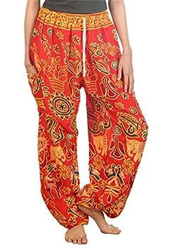 LOFBAZ Harem Pants for Women Yoga Boho Sweatpants Womens Hippie Bohemian Clothing Beach Palazzo Clothes Casual Pajama Elephants 2 Red XXX-Large