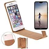 K-S-Trade Für Huawei P20 Lite Single-SIM Korkhülle Flipstyle Case Schutzhülle Kork Case Hülle Flip Cover Smartphone Tasche für Huawei P20 Lite Single-SIM