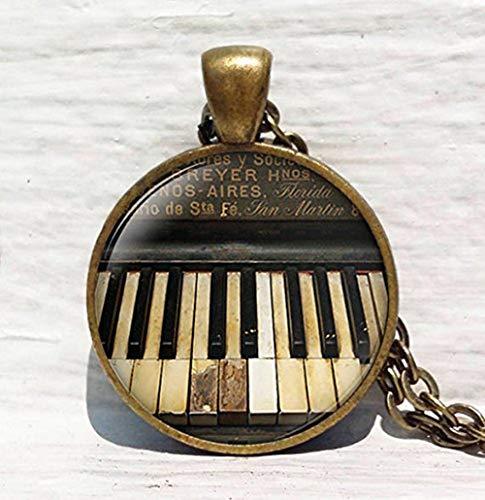 Piano Halskette, Vintage Klavier, Pianist Musiker, Klavier Tastatur Anhänger