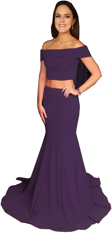 CCBubble 2 Piece Mermaid Prom Dresses 2018 Off Shoulder Evening Party Dresses