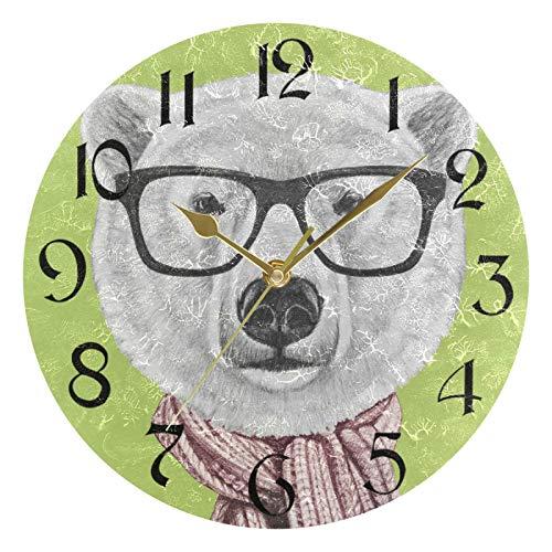 ART VVIES Reloj de Pared Redondo de 10 Pulgadas sin tictac Silent Gold Pointer Funciona con Pilas Oficina Cocina Dormitorio Decoración para el hogar - Gafas Bufanda Oso Polar