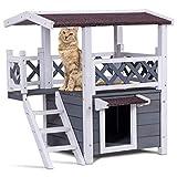 COSTWAY Katzenhaus mit Treppe, Kleintierhaus für Draußen, Doppeldecker Design wetterfest 74x54x71cm