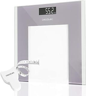 Cecotec Báscula de baño digital Surface Precision 9100 Healthy Plataforma de cristal de alta seguridad, pantalla LCD invertida y capacidad máxima de 180kgr. Lista para usar y con cinta métrica.
