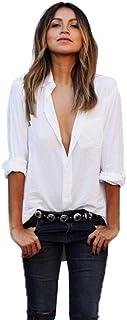 comprar comparacion SHOBDW Mujeres V Cuello Blusa Pura Atractiva Grandes Suaves OL Ladies Sueltas Camisas de Bolsillo Tallas Tops Camisa de Ma...