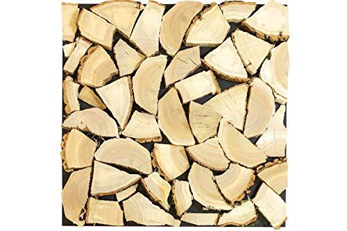 wodewa Kaminholz Deko 3D Wanddekoration Holzscheite 50x50cm Holz Wandverkleidung Echtholz Kamin Dekoration Holzstapel Brennholz Atrappe