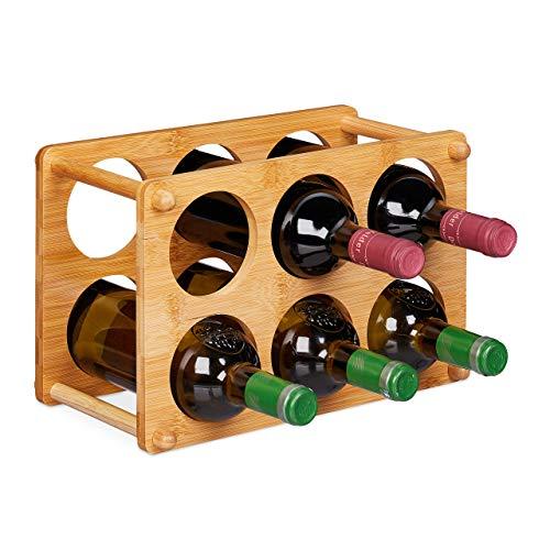 Relaxdays Botellero para 6 Botellas, Soporte Vino para Cocina, Sótano o Salón, Bambú, 1 Ud, 21x32x18,5 cm, Marrón