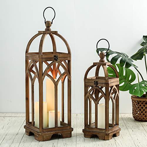 glitzhome Farmhouse Decorative Lanterns Wooden Candle Lantern Church Window Frame Lanterns for...