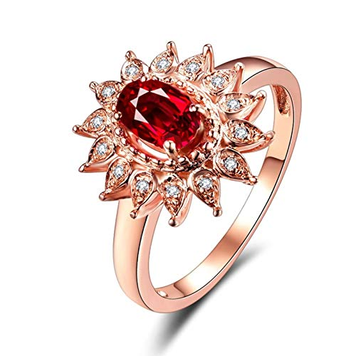 Ubestlove Ladies Ruby Rings 19Th Wedding Anniversary Gifts Oval Shape Ring T 1/2 Gifts For Mum 50Th