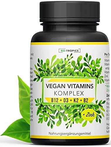 NU-TROPICS Hochdosierter Vegan Vitamin Komplex - B12 D3 K2 B2 + Zink für Veganer/Vegetarier - 120 Kapseln (67,30€/100g) - Daily Vegan Multivitamin Supplement