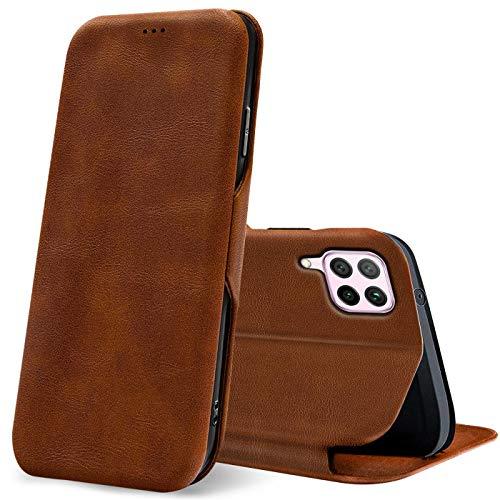 Verco Handyhülle für Huawei P40 Lite, Bookstyle Premium Handy Flip Cover für P40 Lite Hülle [integr. Magnet] Book Hülle PU Leder Tasche, Braun