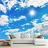 Wallpaper 3D Large Wall Ceiling Mural Peel and Stick Blue Sky and White Clouds Removable Print Poster Design Custom Tv Backdrop Home Decor Kids Room-280x200cm(110x78inch)