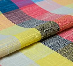 100%linen Width: 143cm Weight: 172g/m countryside style checked pattern Yarn-dyed