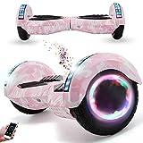 Wind Way Hoverboard 8' - Bluetooth Musique - Moteur 700W - Vitesse Max 15KM/H - Distance Max 20KM - 4.4AH - LED - Auto Equilibré - pour Enfants Adultes - Scooter Electrique Pas Cher - Rose Militaire
