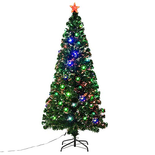 6' Fiber Optic w/ 24 LED Lights Holiday Pre-Lit Artificial Christmas Tree
