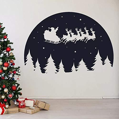 WERWN Flying Santa Claus and Moon Silhouette Wall Christmas Home Living Room Decoración de la Pared