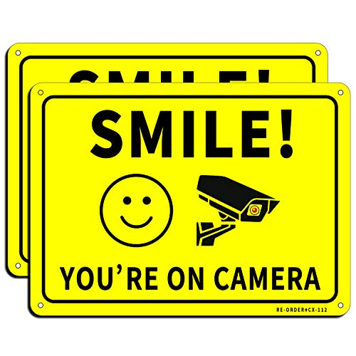 """Smile You're on Camera Sign 2 Pack, MUXYH Video Surveillance Sign, 10""""x7"""" Rust Free Aluminum Metal, UV Reflective Warning Sign Indoor Or Outdoor Use for CCTV Camera Monitoring System"""