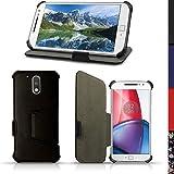 igadgitz U5347Eco Leder Tasche Hülle Kompatibel mit Motorola Moto G 4XT1622(Moto G4) und Moto G4Plus XT1644mit Halter + Bildschirmschutzfolie–Schwarz