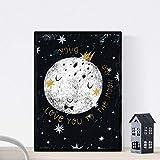 Lámina Luna blanca Estilo nordico blanco y negro.