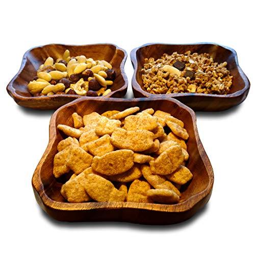 Ciotole quadrate (3 unità) in legno di acacia. Ciotole per aperitivi, cibo o decorazioni che daranno un tocco moderno, elegante e bello al vostro tavolo/14 x 14 x 4 cm