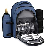 Gonex Picnic Backpack Bag for 4 Person with Insulated Cooler Compartment, Fleece Blanket, Detachable Wine Holder, Cutlery Set (Blue)