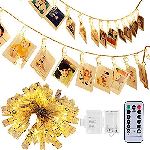 40 LED Photo Clip Lights - Adecorty 8 Modes Battery Powered Photo Clips String Lights with Remote & Timer  Cards Pictures Holder for Christmas Wedding Dorm Bedroom Decor (14.1ft  Warm White)