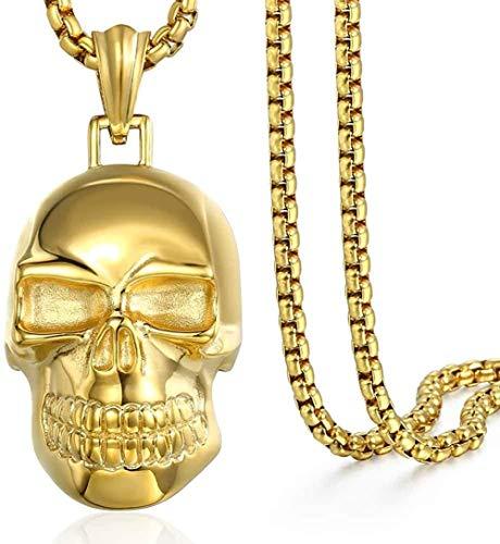 huangshuhua Collar de Calavera Negra 316L Colgante de Acero Inoxidable para Hombre 4Mm Caja Redonda Negra Enlace Chai Hallowee joyería Regalos 60Cm