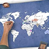 Golden Posters Carte du monde à colorier - Carte du monde à colorier - A3 - Bleu