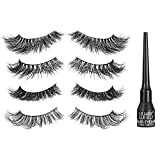 Proteove 3D Mink Eyelashes - 4 Pairs Different Falses Eyelashes Extension, 100% Mink Hair Handmade, Ultra Soft, Natural Curl Look, Light Weight & Easy to Wear, Liquid Eyeliner Included