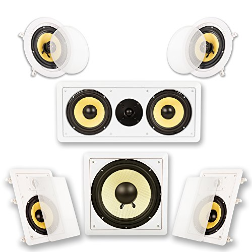 Acoustic Audio by Goldwood HD516 In-Wall/Ceiling Home Theater Surround 5.1 Speaker System, 6.5-Inch, White