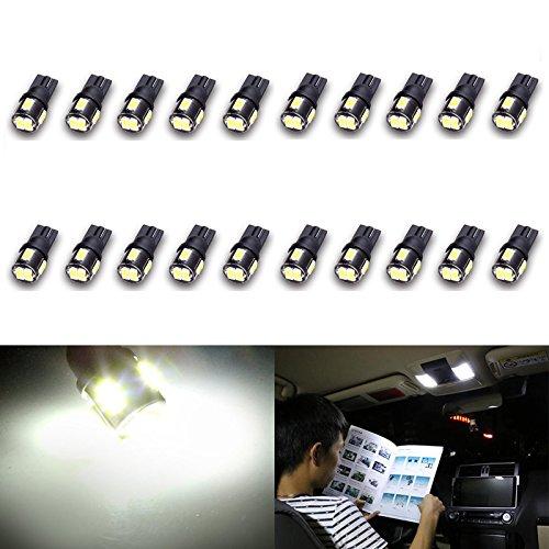 Katur 10 pcs T10 AMPOULE LED Super Bright 450 lumens 168 194 2825 175 921 912 lumière LED 5630, Blanc Intérieur carte lumières pour coffre lumières Courtois Coin côté marqueur lumières LED 2 W 12 V blanc 6000 K